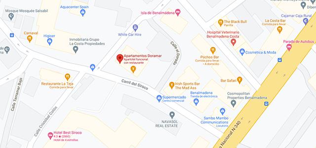 Apartamentos Doramar map